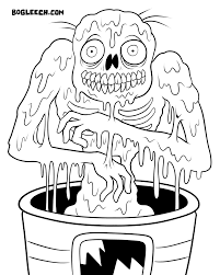 crazy zombie coloring for kids halloween cartoon coloring pages