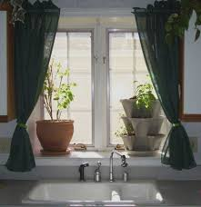 Light Green Curtains Decor Accessories Beautiful Kitchen Window Decoration Design Using