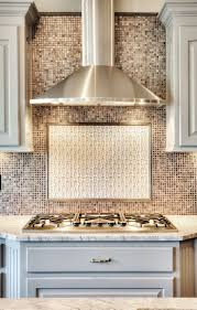kitchen smart tile backsplash and stainless steel vent hoods for