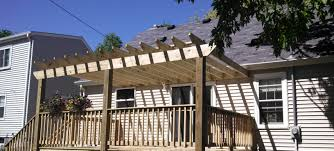 treated decking u0026 railing with a pergola built over the entire