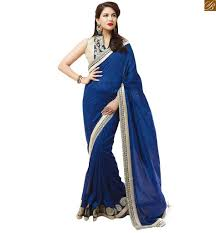 Combination Of Blue by Indian Blouse Designs Smart Combination Of Designer Sarees Online