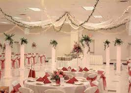 wedding hall decoration idea white and red party ideas