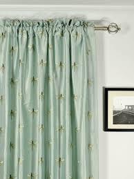 Curtain Sales Online Halo Embroidered Dragonflies Rod Pocket Dupioni Silk Curtains