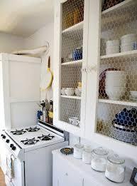 Chicken Wire Cabinet Doors Almost Open Shelving Chicken Wire Kitchen Cabinets Kitchn