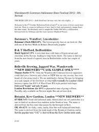 wandsworth halloween beer list 2012 ale beer
