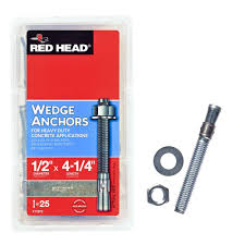 red head 1 2 in x 4 1 4 in zinc plated steel hex nut head solid