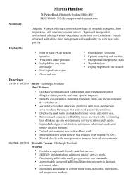 Bar Resume Examples by Waitress Resume Sample Jennywashere Com