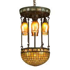 tiffany studios moresque turtleback tile chandelier lighting