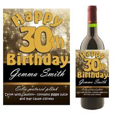 wine birthday personalised black u0026 gold happy birthday wine champagne bottle