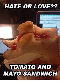 Sandwich Meme - hate or love tomato and mayo sandwich dank meme on me me