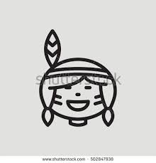 american indian outline icon thanksgiving stock vector