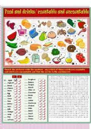 food and drinks countable and uncountable nouns