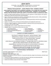 production resume template a resume template for production assistant you can it