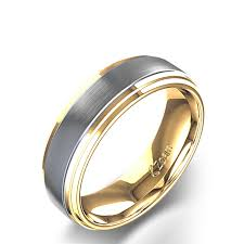 mens wedding bands gold brushed s wedding band in 14k two tone yellow gold