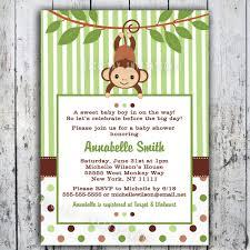 mod monkey baby shower invitation printable boy or