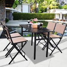 Patio Pool Furniture Sets by 5 Pcs Patio Outdoor Folding Chairs Table Outdoor Furniture Sets