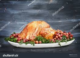 delicious golden roasted thanksgiving turkey on stock photo