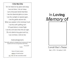 funeral program format template memorial programs templates
