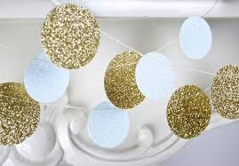 gold and white glitter paper garland bridal shower baby shower