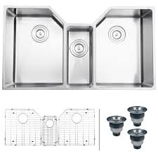 16 Gauge Kitchen Sink by Ruvati Rvh8500 Undermount 16 Gauge 35 U2033 Kitchen Sink Triple Bowl