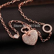 long heart pendant necklace images New design top quality rose gold color crystal heart pendant long jpg