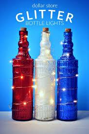 dollar store glittered bottle lights