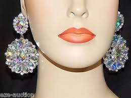 bridal clip on earrings silver ab borealis iridescent rhinestone bridal