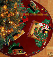 bucilla tree skirt cross stitch kits ebay