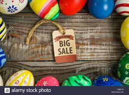 easter eggs sale easter eggs sale coupon voucher tag on wooden background stock