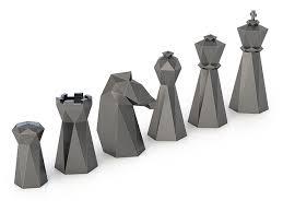 chess set designs 3d printed low poly chess set by formbyte pinshape