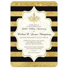 black and ivory wedding invitations golden anniversary invitation black faux gold foil ivory