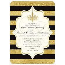 golden anniversary invitation black faux gold foil ivory