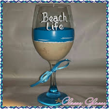 beach life hand painted wine glass