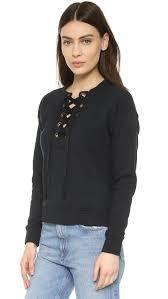 mother the tie up easy sweatshirt in black lyst