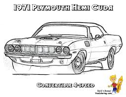 1971 plymouth hemi cuda 4 speed muscle car to color in brawny