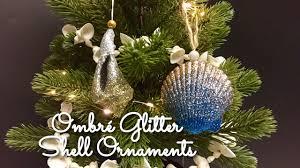 diy ombré glitter shell ornaments seashell christmas ornaments