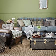 green and blue check country living room country living rooms