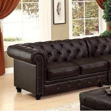 Tufted Rolled Arm Sofa Furniture Of America Stanford Ii Sectional Set Brown Leatherette