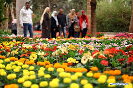 egyptian people visit spring flower exhibition in giza xinhua