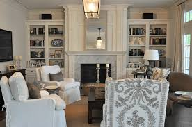 Beautiful Transitional Living Room Amd Dining Room Combination - Family room built ins