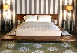 Flat Platform Bed Furniture Brown Wooden Flat Platform Bed Frame With Striped