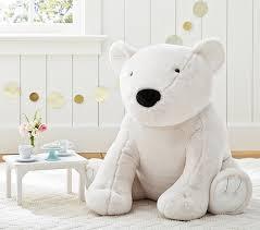 faux fur jumbo polar bear plush pottery barn kids