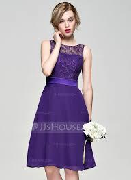 purple lace bridesmaid dress a line princess scoop neck knee length chiffon lace bridesmaid