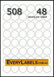 508 circle round 30 mm white premium paper labels 48