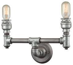 Industrial Bathroom Vanity Lighting Pipe 2 Light Vanity In Weathered Zinc Industrial Bathroom Vanity