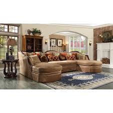 Sofa With Wood Trim by Homey Design Hd 1626 Wood Trim Dual Chaise Nail Head Sectional Sofa