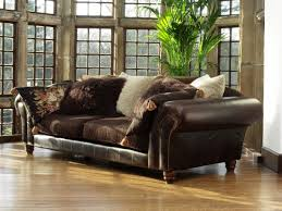 Sofa Leather Fabric Brown Leather Sofa With Fabric Cushions Radiovannes