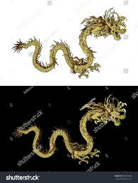 vector illustration traditional chinese dragon gold stock vector