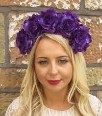 flower headband large purple sugar skull flower headband frida