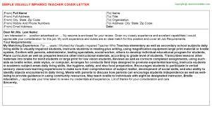 visually impaired teacher cover letter